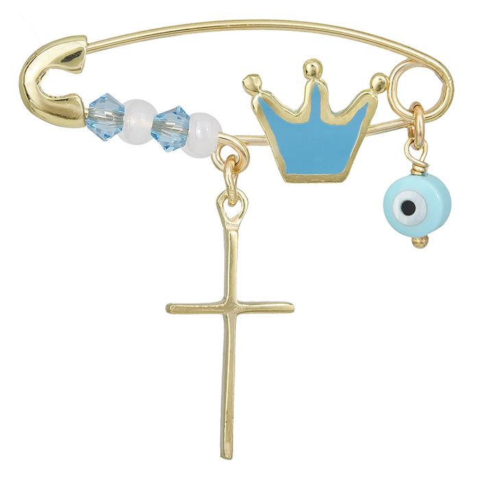 Παιδική παραμάνα Κ9 με κορώνα μπλε 028253 028253 Χρυσός 9 Καράτια