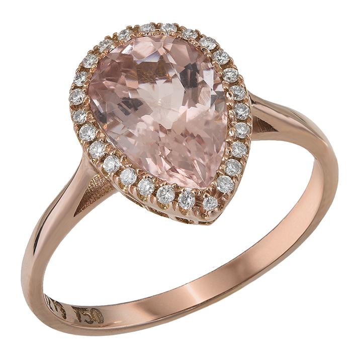Ροζ gold ροζέτα δάκρυ με μοργκανίτη Κ18 028306 028306 Χρυσός 18 Καράτια