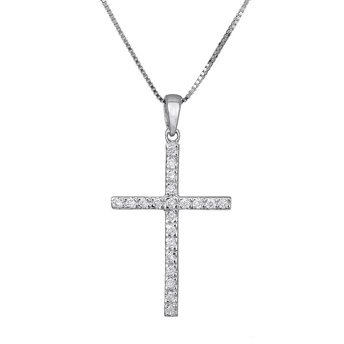 Γυναικείος σταυρός με μπριγιάν 18Κ 028330C 028330C Χρυσός 18 Καράτια