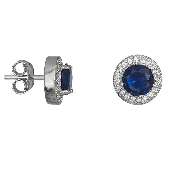 Ασημένια σκουλαρίκια 925 μπλε πέτρα 028356 028356 Ασήμι