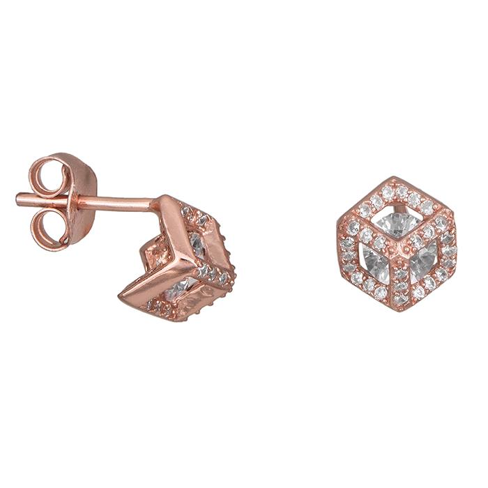 Ροζ gold σκουλαρίκια 925 028358 028358 Ασήμι