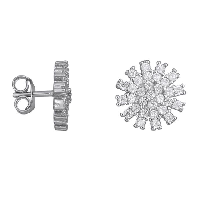 Ασημένια σκουλαρίκια νιφάδας 925 028361 028361 Ασήμι