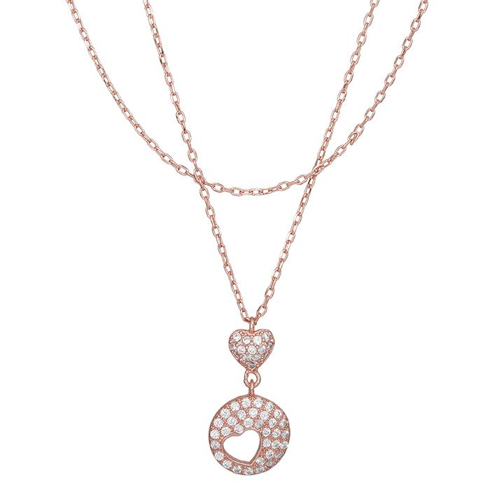 Επίχρυσο ροζ κολιέ 925 καρδιά με πέτρες 028368 028368 Ασήμι