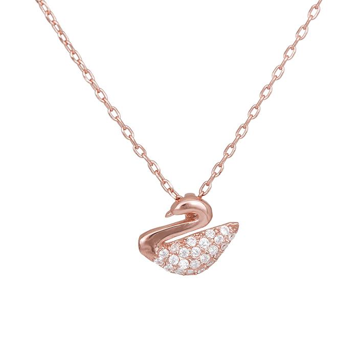 Επίχρυσο ροζ κολιέ 925 κύκνος με πέτρες 028369 028369 Ασήμι