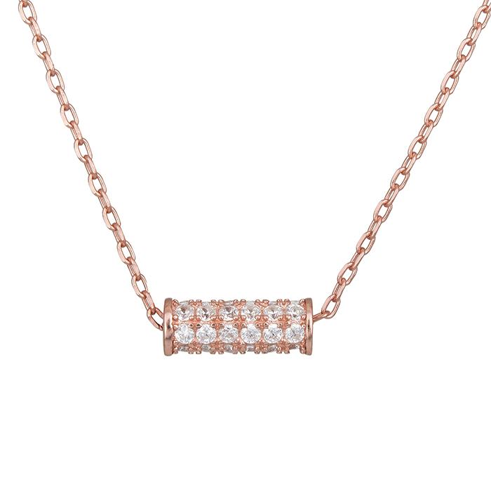 Επίχρυσο ροζ κολιέ 925 κύλινδρος με πέτρες 028370 028370 Ασήμι