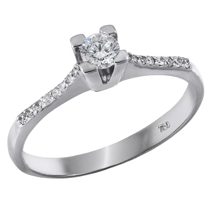 Μονόπετρο με διαμάντια Κ18 028395 028395 Χρυσός 18 Καράτια χρυσά κοσμήματα δαχτυλίδια μονόπετρα