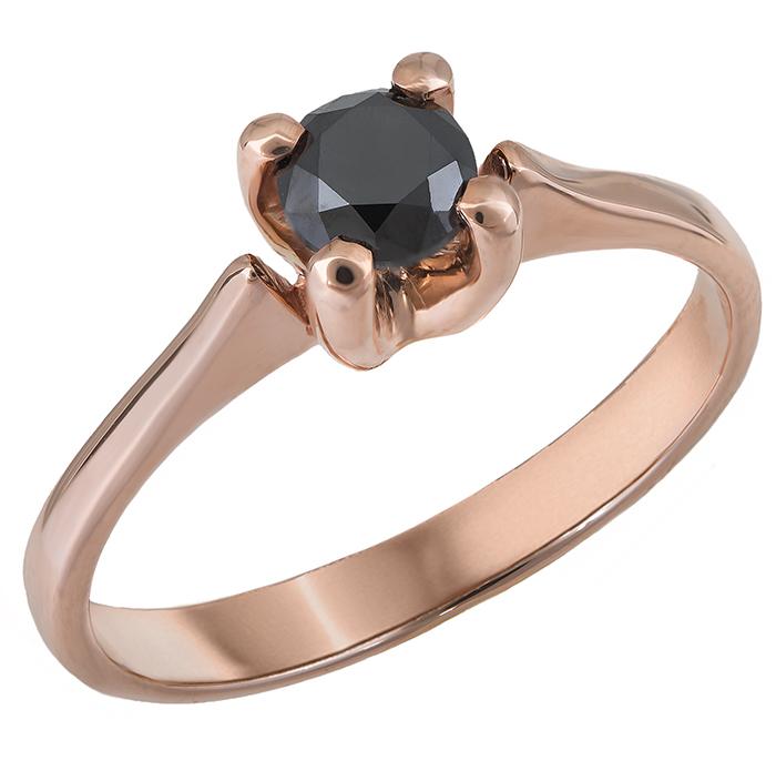 Μονόπετρο δαχτυλίδι με μαύρο μπριγιάν Κ18 028404 028404 Χρυσός 18 Καράτια