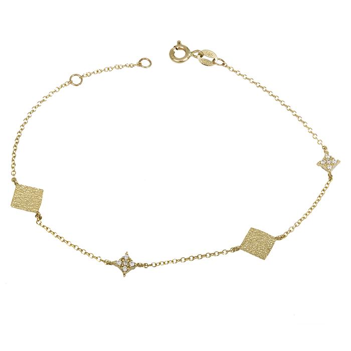 Χρυσό γυναικείο βραχιόλι Κ14 με ζιργκόν 028417 028417 Χρυσός 14 Καράτια