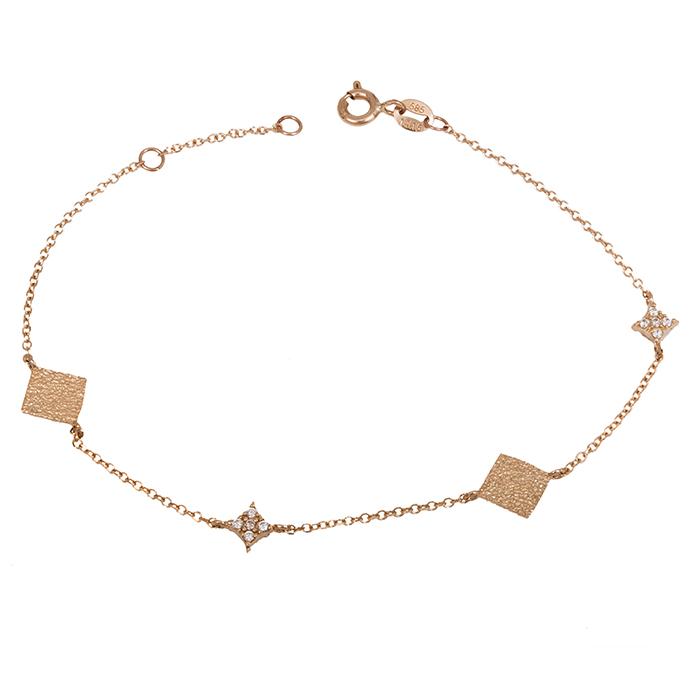 Γυναικείο βραχιόλι Κ14 ροζ gold με ζιργκόν 028418 028418 Χρυσός 14 Καράτια
