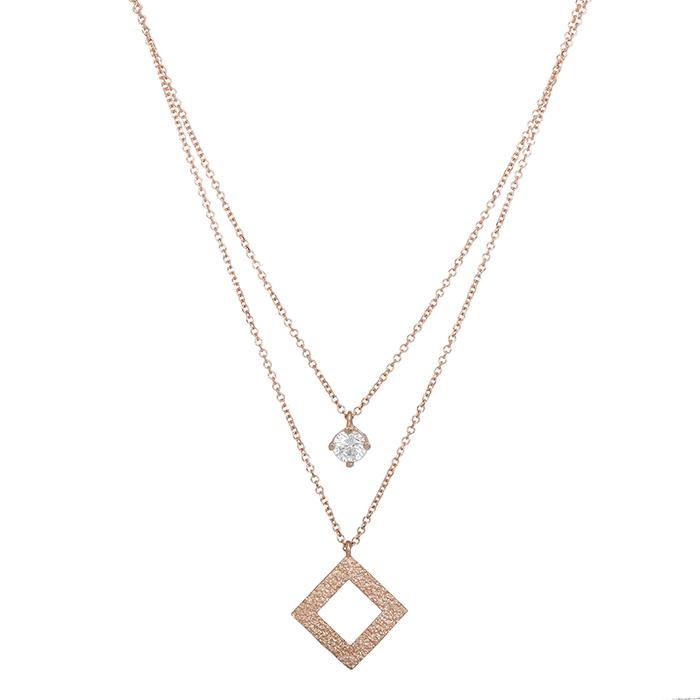 Γυναικείο κολιέ ρόμβος Κ14 ροζ gold με ζιργκόν 028430 028430 Χρυσός 14 Καράτια