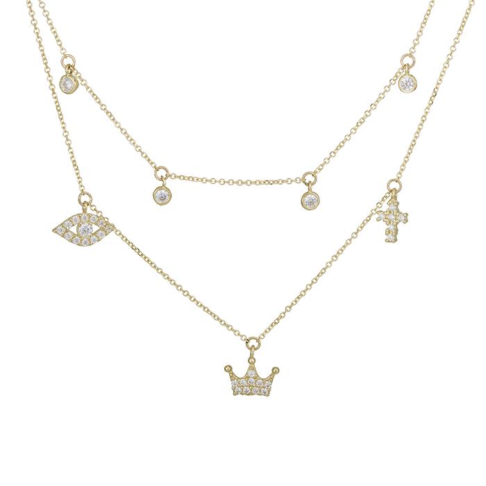 Χρυσό κολιέ Κ14 με τρία σχέδια και με ζιργκόν 028435 028435 Χρυσός 14 Καράτια