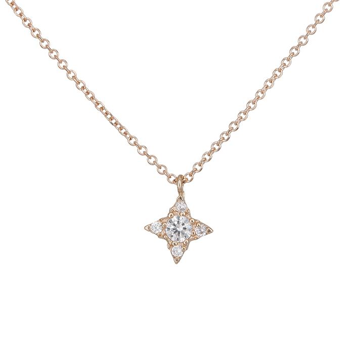 Γυναικείο κολιέ Κ14 ροζ gold σταυρουδάκι με ζιργκόν 028439 028439 Χρυσός 14 Καράτια