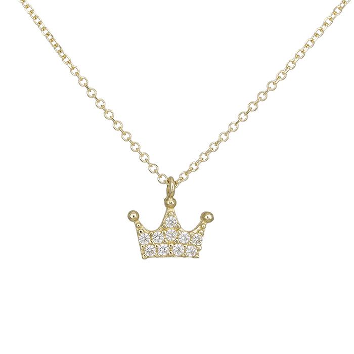 Γυναικείο κολιέ Κ14 κορώνα με ζιργκόν πέτρες 028440 028440 Χρυσός 14 Καράτια