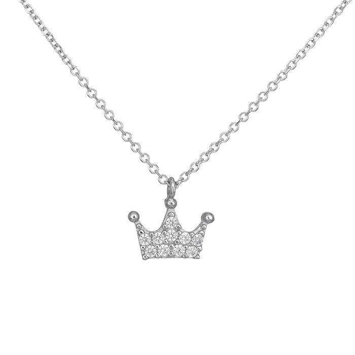 Λευκόχρυσο γυναικείο κολιέ Κ14 κορώνα με ζιργκόν 028441 028441 Χρυσός 14 Καράτια