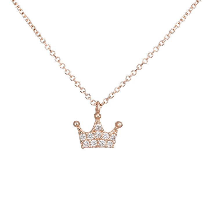 Ροζ gold κολιέ Κ14 κορώνα με λευκές ζιργκόν 028442 028442 Χρυσός 14 Καράτια