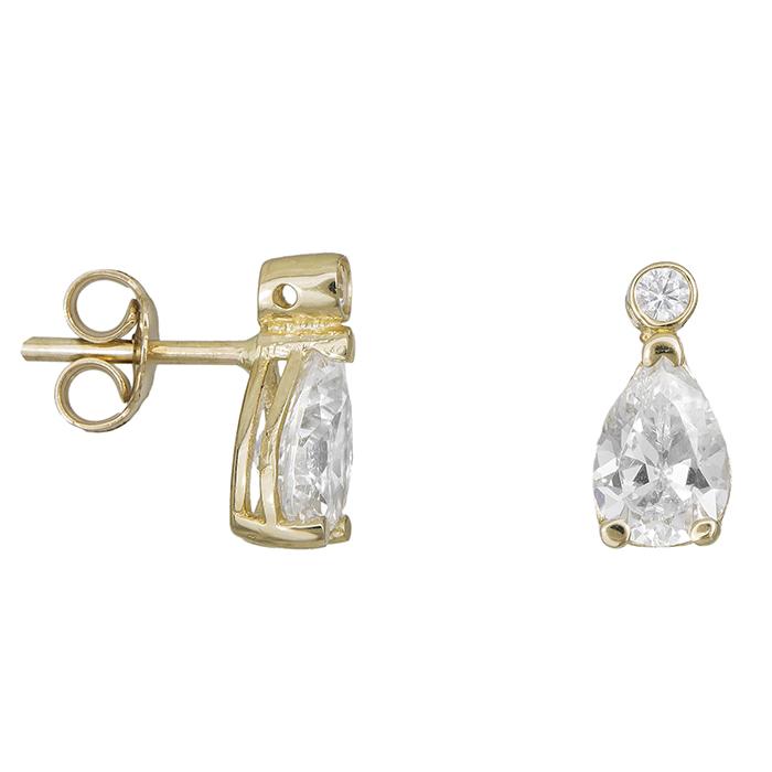 e360ecab5f Χρυσά γυναικεία σκουλαρίκια Κ14 με ζιργκόν 028443 028443 Χρυσός 14 Καράτια