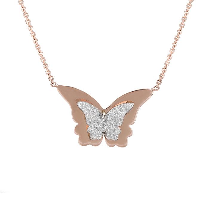 Γυναικείο κολιέ Κ14 δίχρωμο πεταλούδα 028456 028456 Χρυσός 14 Καράτια