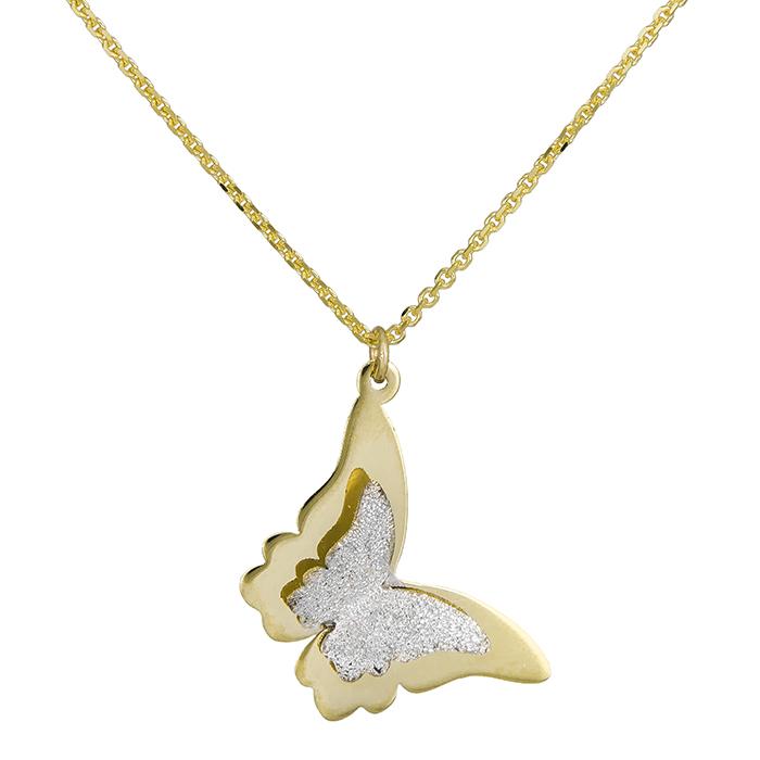 Δίχρωμο γυναικείο κολιέ Κ14 πεταλούδα 028457 028457 Χρυσός 14 Καράτια