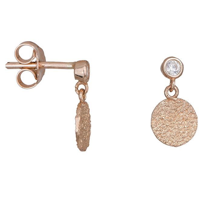 Γυναικεία σκουλαρίκια Κ14 ροζ gold με ζιργκόν 028486 028486 Χρυσός 14 Καράτια