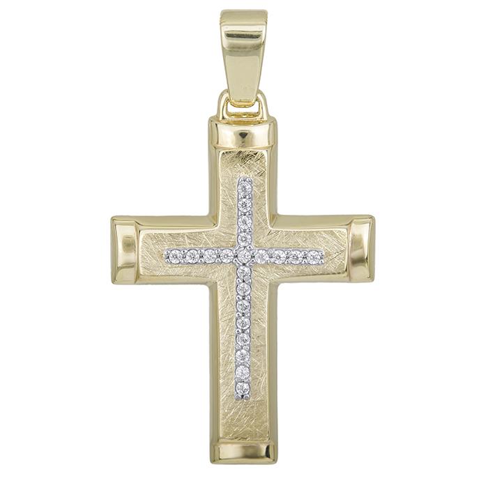 Σταυροί Βάπτισης - Αρραβώνα Βαπτιστικός σταυρός Κ14 για κορίτσι δίχρωμος με πέτρες 028493 028493 Γυναικείο Χρυσός 14 Καράτια