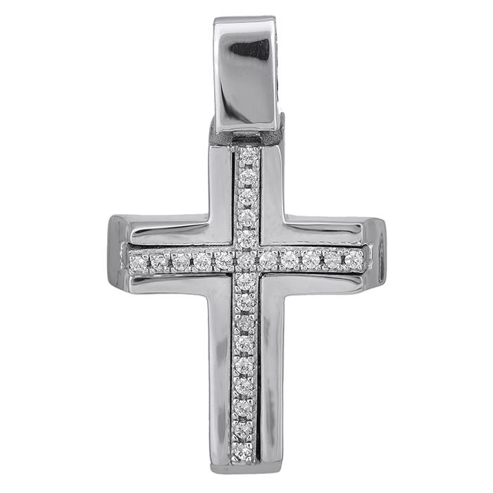 Σταυροί Βάπτισης - Αρραβώνα Λευκόχρυσος γυναικείος σταυρός Κ14 με ζιργκόν 028498 028498 Γυναικείο Χρυσός 14 Καράτια