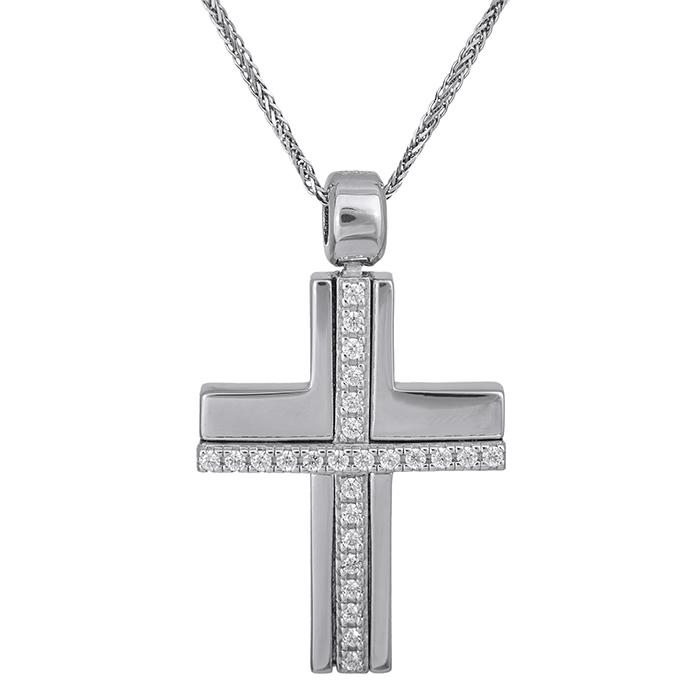 Βαπτιστικοί Σταυροί με Αλυσίδα Λευκόχρυσος σταυρός με αλυσίδα Κ14 πλακέ με πέτρες 028502C 028502C Γυναικείο Χρυσός 14 Καράτια
