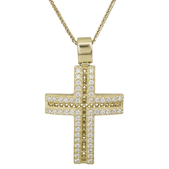 Βαπτιστικοί Σταυροί με Αλυσίδα Γυναικείος σταυρός με αλυσίδα Κ14 πετράτος 028503C 028503C Γυναικείο Χρυσός 14 Καράτια
