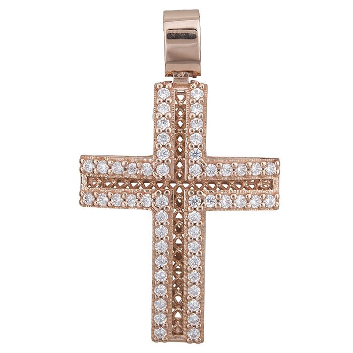 Σταυροί Βάπτισης - Αρραβώνα Γυναικείος σταυρός Κ14 ροζ gold με πέτρες 028504 028504 Γυναικείο Χρυσός 14 Καράτια