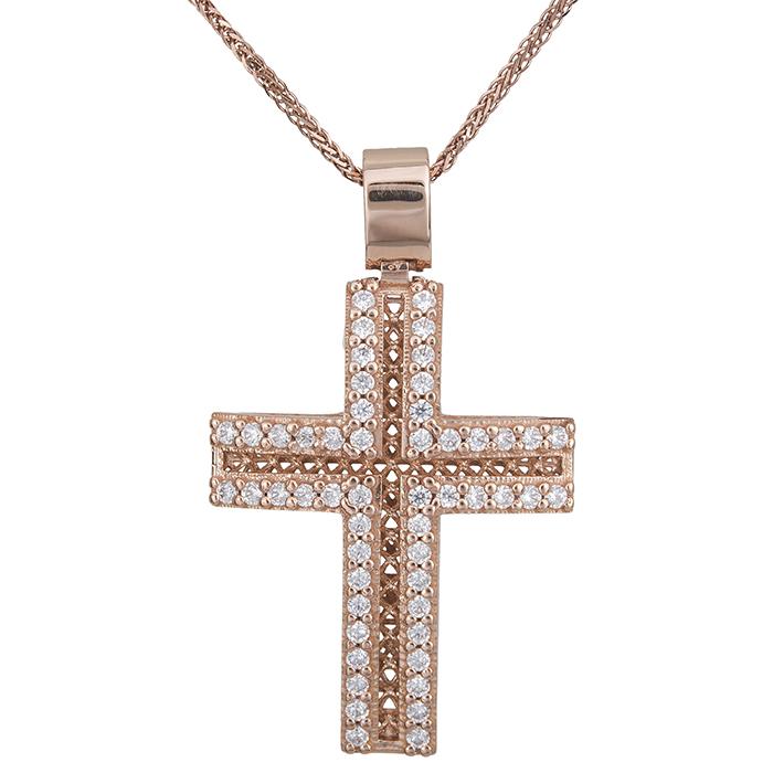 Βαπτιστικοί Σταυροί με Αλυσίδα Γυναικείος σταυρός με αλυσίδα Κ14 ροζ gold με πέτρες 028504C 028504C Γυναικείο Χρυσός 14 Καράτια