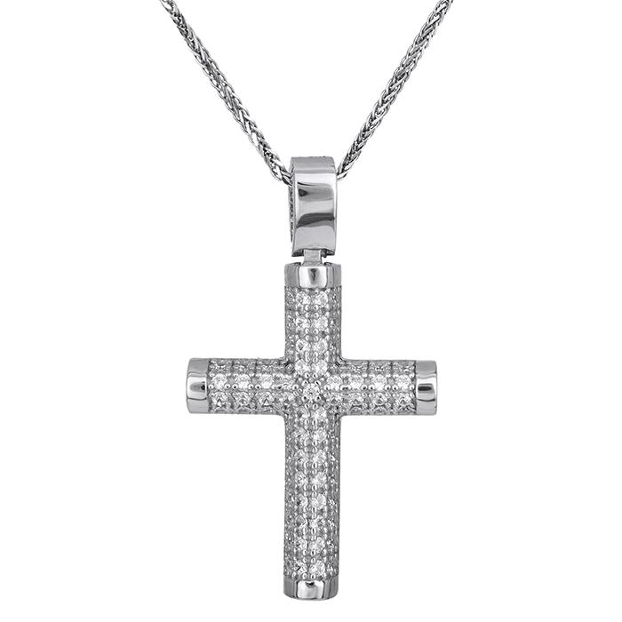 Βαπτιστικοί Σταυροί με Αλυσίδα Γυναικείος σταυρός Κ14 λευκόχρυσος με αλυσίδα 028506C 028506C Γυναικείο Χρυσός 14 Καράτια