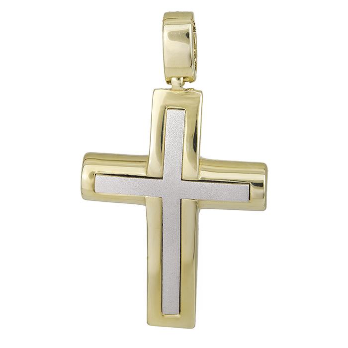 Σταυροί Βάπτισης - Αρραβώνα Δίχρωμος αντρικός σταυρός Κ14 για αγόρι διπλής όψης 028512 028512 Ανδρικό Χρυσός 14 Καράτια