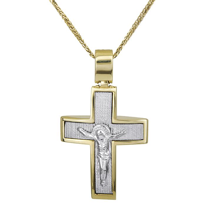 Βαπτιστικοί Σταυροί με Αλυσίδα Βαπτιστικός σταυρός με αλυσίδα Κ14 διπλής όψης 028513C 028513C Ανδρικό Χρυσός 14 Καράτια