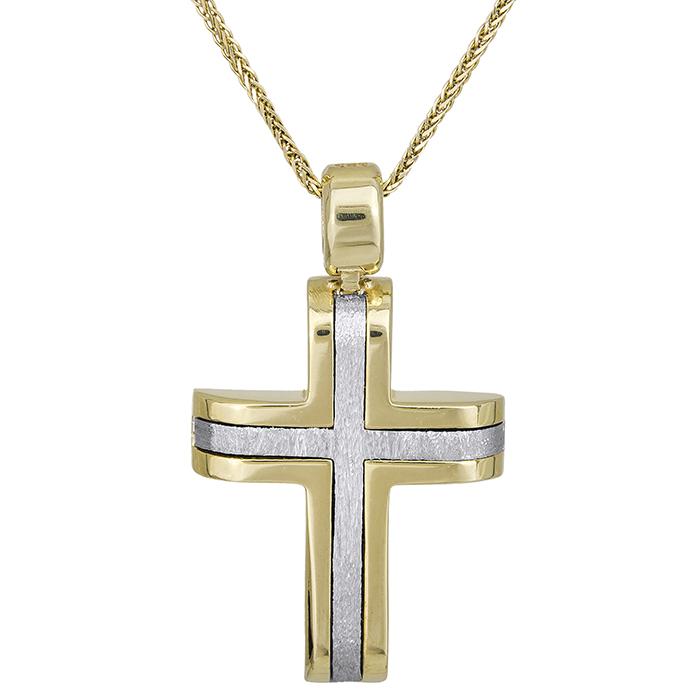 Βαπτιστικοί Σταυροί με Αλυσίδα Δίχρωμος αντρικός σταυρός Κ14 με αλυσίδα διπλής όψης 028515C 028515C Ανδρικό Χρυσός 14 Καράτια