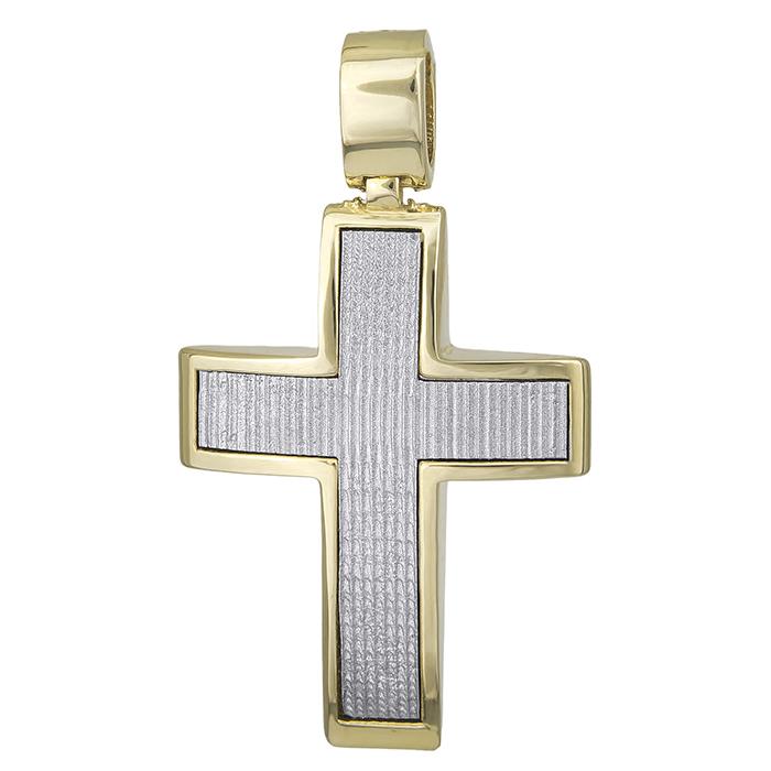 Σταυροί Βάπτισης - Αρραβώνα Βαπτιστικός σταυρός Κ14 διπλής όψης για αγόρι 028518 028518 Ανδρικό Χρυσός 14 Καράτια