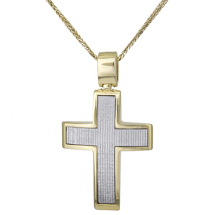 Βαπτιστικοί Σταυροί με Αλυσίδα Αντρικός σταυρός με αλυσίδα Κ14 διπλής όψης δίχρωμος 028518C 028518C Ανδρικό Χρυσός 14 Καράτια