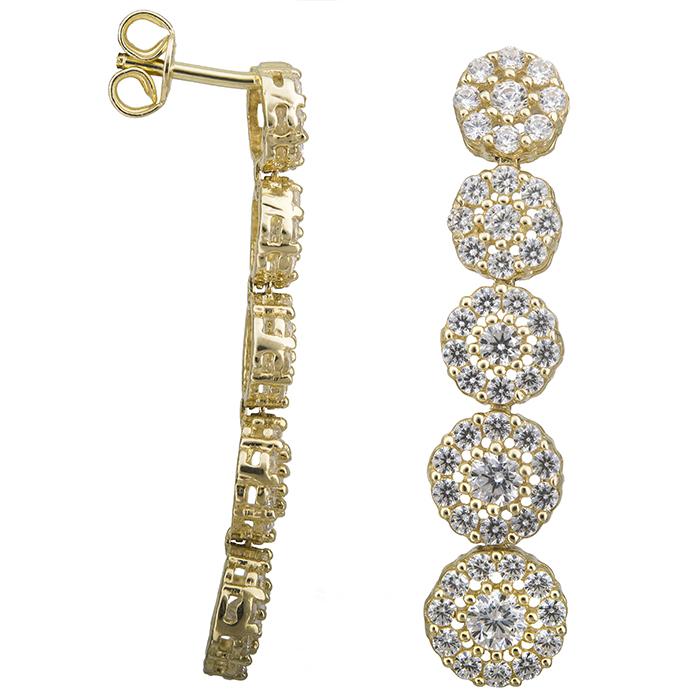 Χρυσά σκουλαρίκια Κ14 ροζέτες με ζιργκόν 028531 028531 Χρυσός 14 Καράτια
