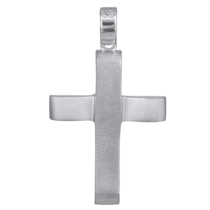 Σταυροί Βάπτισης - Αρραβώνα Βαπτιστικός σταυρός Κ14 λευκόχρυσος 028537 028537 Ανδρικό Χρυσός 14 Καράτια