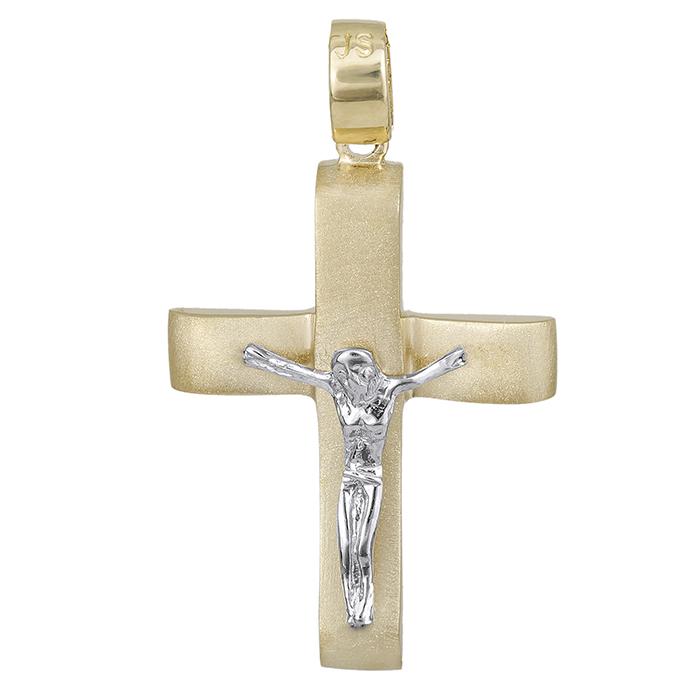 Σταυροί Βάπτισης - Αρραβώνα Βαπτιστικός σταυρός Κ14 δίχρωμος 028538 028538 Ανδρικό Χρυσός 14 Καράτια