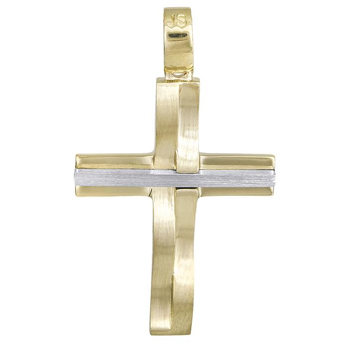 Σταυροί Βάπτισης - Αρραβώνα Χειροποίητος σταυρός Κ14 δίχρωμος 028539 028539 Γυναικείο Χρυσός 14 Καράτια