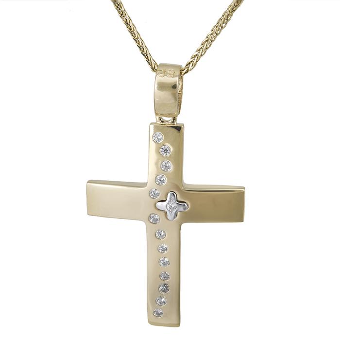 Βαπτιστικοί Σταυροί με Αλυσίδα Γυναικείος σταυρός Κ14 με αλυσίδα ματ με πέτρες 028558C 028558C Γυναικείο Χρυσός 14 Καράτια