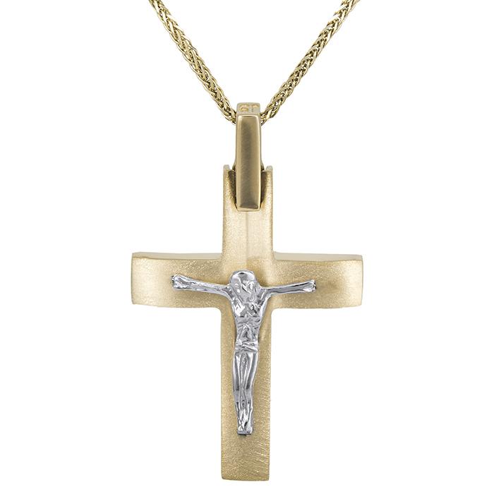Βαπτιστικοί Σταυροί με Αλυσίδα Βαπτιστικός σταυρός με αλυσίδα Κ14 δίχρωμος 028567C 028567C Ανδρικό Χρυσός 14 Καράτια