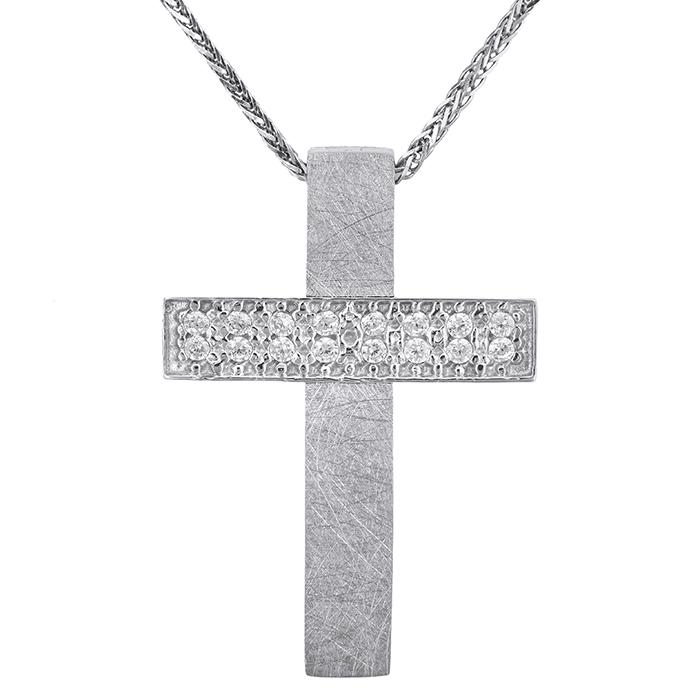 Βαπτιστικοί Σταυροί με Αλυσίδα Λευκόχρυσος γυναικείος σταυρός Κ14 με αλυσίδα 028572C 028572C Γυναικείο Χρυσός 14 Καράτια