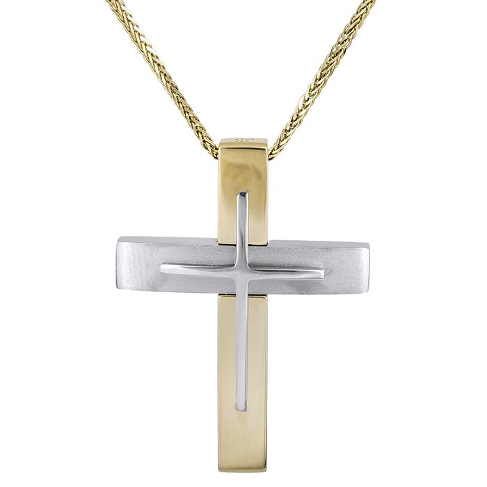 Βαπτιστικοί Σταυροί με Αλυσίδα Αντρικός δίχρωμος σταυρός Κ14 με αλυσίδα 028592C 028592C Ανδρικό Χρυσός 14 Καράτια