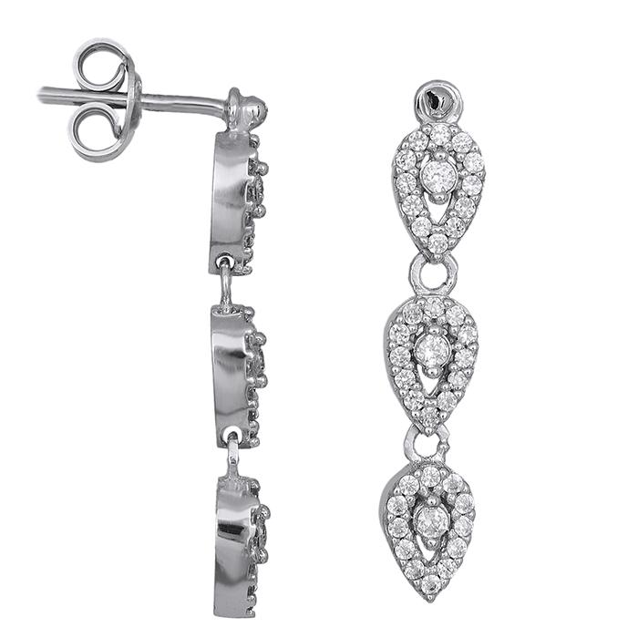 Γυναικεία σκουλαρίκια Κ9 λευκόχρυσα με ζιργκόν 028606 028606 Χρυσός 9 Καράτια