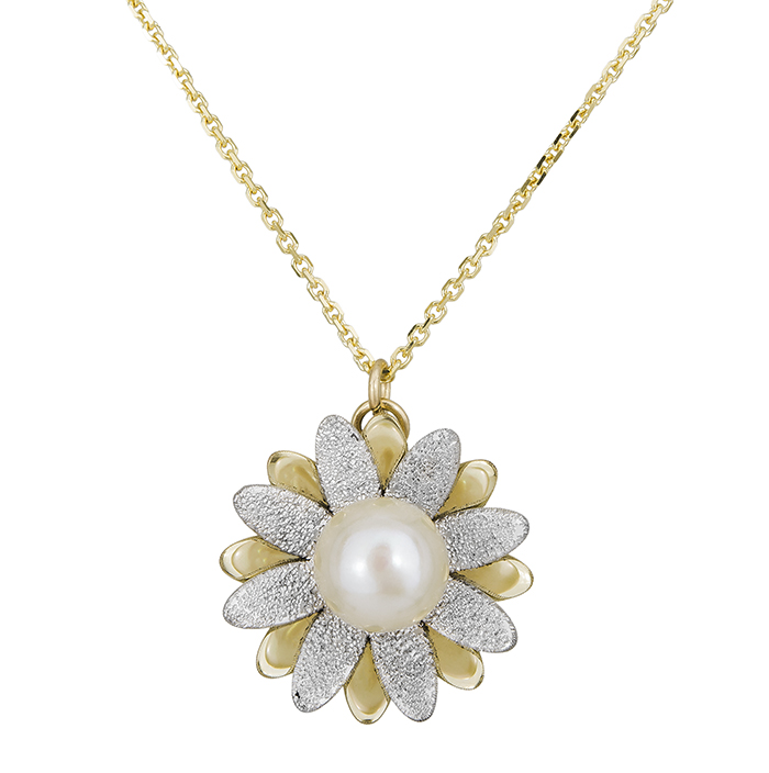 Δίχρωμο γυναικείο κολιέ Κ14 με μαργαριτάρι 028616 028616 Χρυσός 14 Καράτια e5c8ebed79b