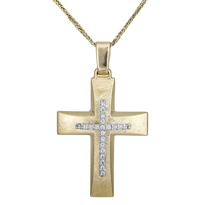Βαπτιστικοί Σταυροί με Αλυσίδα Γυναικείος σταυρός με αλυσίδα διπλής όψης Κ14 028618C 028618C Γυναικείο Χρυσός 14 Καράτια