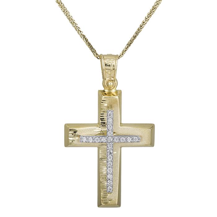 Βαπτιστικοί Σταυροί με Αλυσίδα Ανάγλυφος γυναικείος σταυρός 14 καρατίων με αλυσίδα 028619C 028619C Γυναικείο Χρυσός 14 Καράτια
