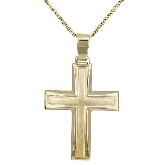 Βαπτιστικοί Σταυροί με Αλυσίδα Αντρικός σταυρός Κ14 με αλυσίδα χρυσός 028626C 028626C Ανδρικό Χρυσός 14 Καράτια
