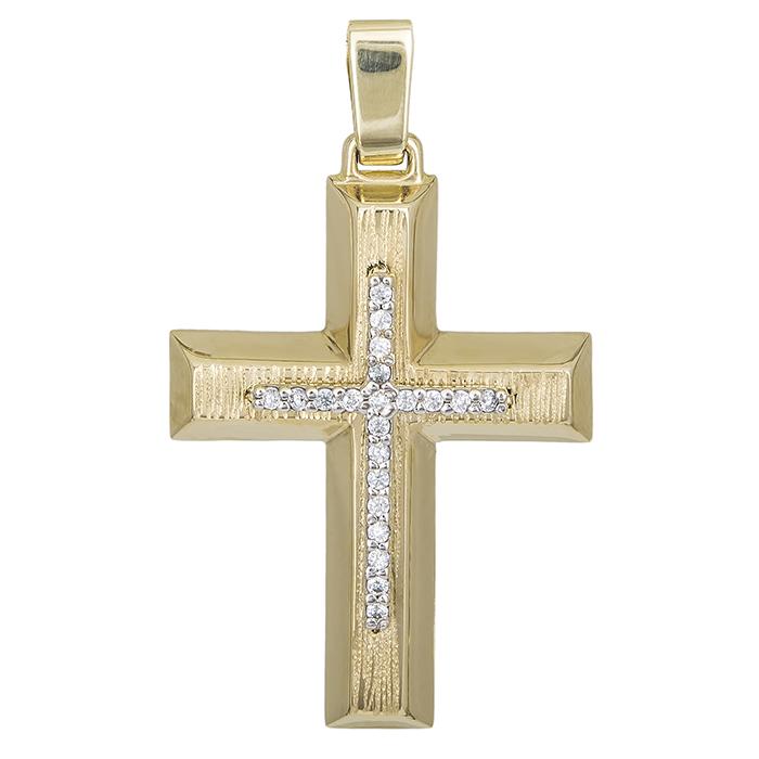 Σταυροί Βάπτισης - Αρραβώνα Βαπτιστικός σταυρός Κ14 για κορίτσι δίχρωμος 028631 028631 Γυναικείο Χρυσός 14 Καράτια