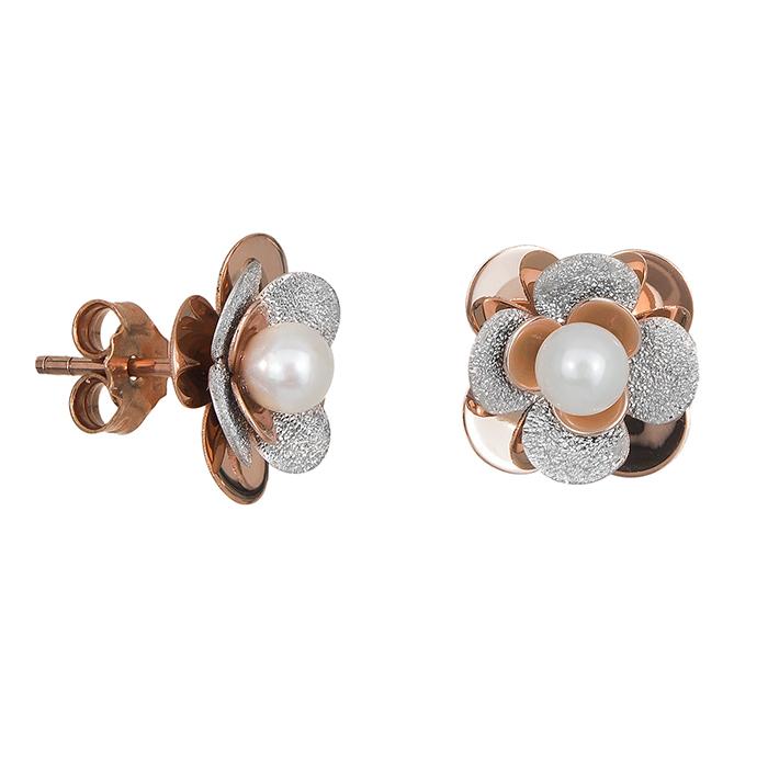 Δίχρωμα σκουλαρίκια Κ14 με μαργαριτάρι 028634 028634 Χρυσός 14 Καράτια